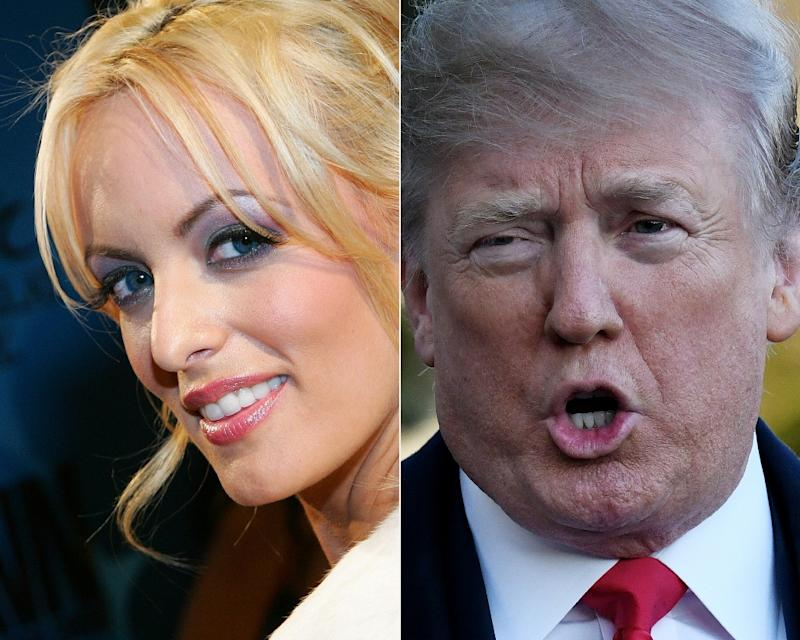 US President Donald Trump's (R) story on hush payments to women including Stormy Daniels (L) has changed repeatedly