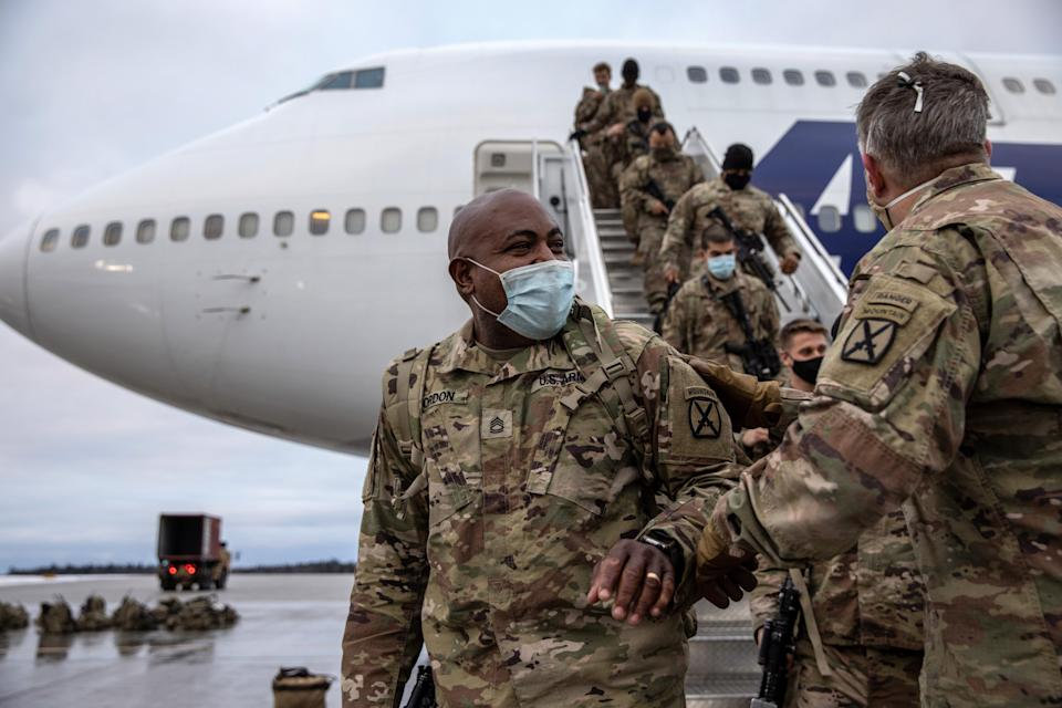 Army soldiers return from Afghanistan on Dec. 10, 2020, at Fort Drum, New York.