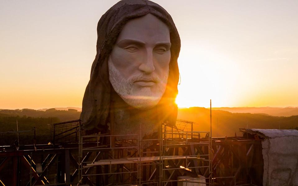 Detail of the head of the Christ The Protector Statue which is under construction in Encantado, Brazil. The statue will surpass the iconic Christ The Redeemer of Rio de Janeiro by five metres. - Getty Images South America