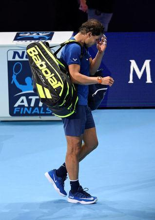 Tennis - ATP World Tour Finals - The O2 Arena, London, Britain - November 13, 2017 Spain's Rafael Nadal looks dejected after losing his group stage match against Belgium's David Goffin Action Images via Reuters/Tony O'Brien