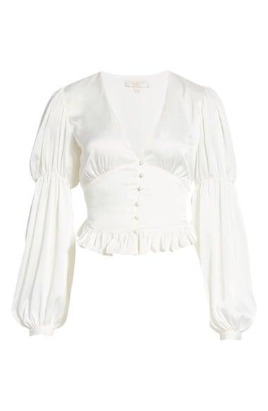 <p>Show off your figure with this <span>WAYF Amena Ruffle Satin Blouse</span> ($68).</p>