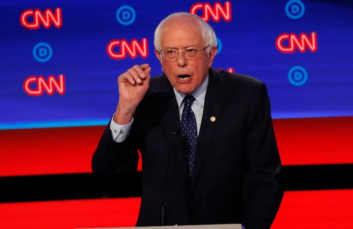 Sen. Bernie Sanders, I-Vt., speaks during the first of two Democratic presidential primary debates hosted by CNN, at the Fox Theatre in Detroit on July 30, 2019. | Paul Sancya—AP