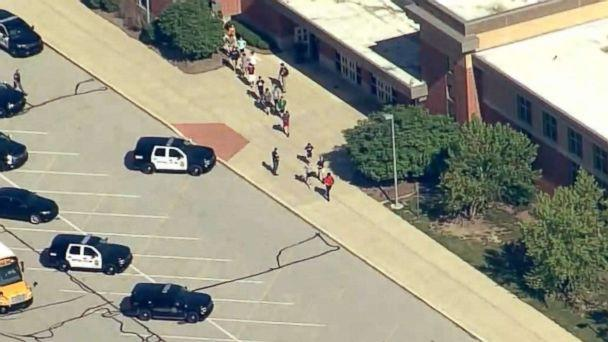 PHOTO: People stream out of Noblesville West Middle School in Noblesville, Ind., after reports of a shooting, May 25, 2018. (WRTV)
