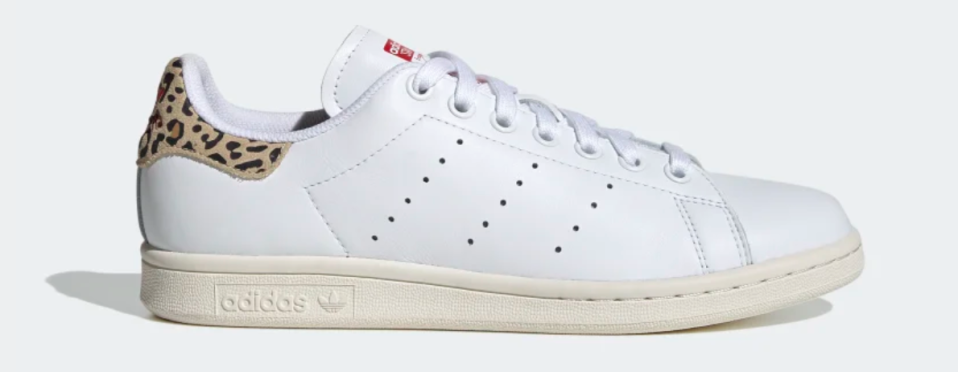 Adidas Women's Stan Smith Shoes in Cloud White, Scarlet, and Chalk White
