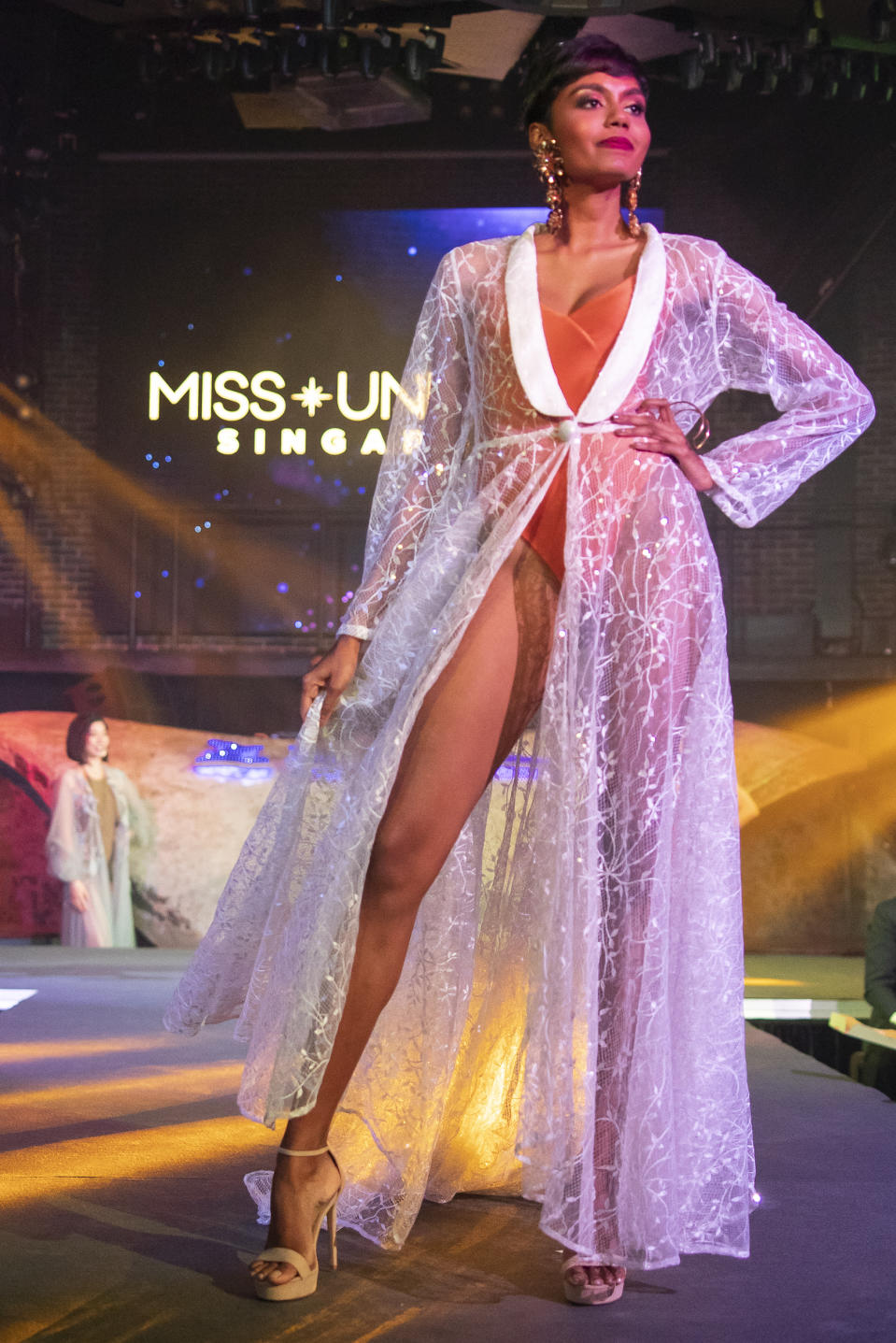 Mohana Phraba competing in the swimwear segment during the 2019 Miss Universe Singapore at Zouk.