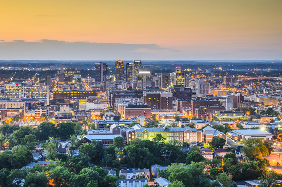 The skyline of downtown Birmingham, Alabama at sunset.