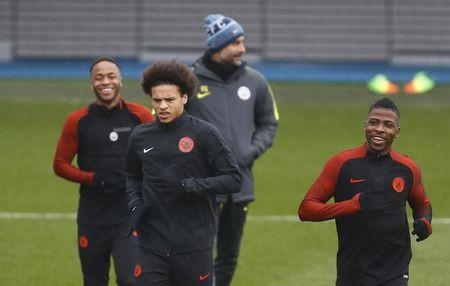 Britain Soccer Football - Manchester City Training - City Football Academy, Manchester - 14/3/17 Manchester City manager Pep Guardiola, Raheem Sterling, Leroy Sane and Kelechi Iheanacho during training Action Images via Reuters / Jason Cairnduff Livepic