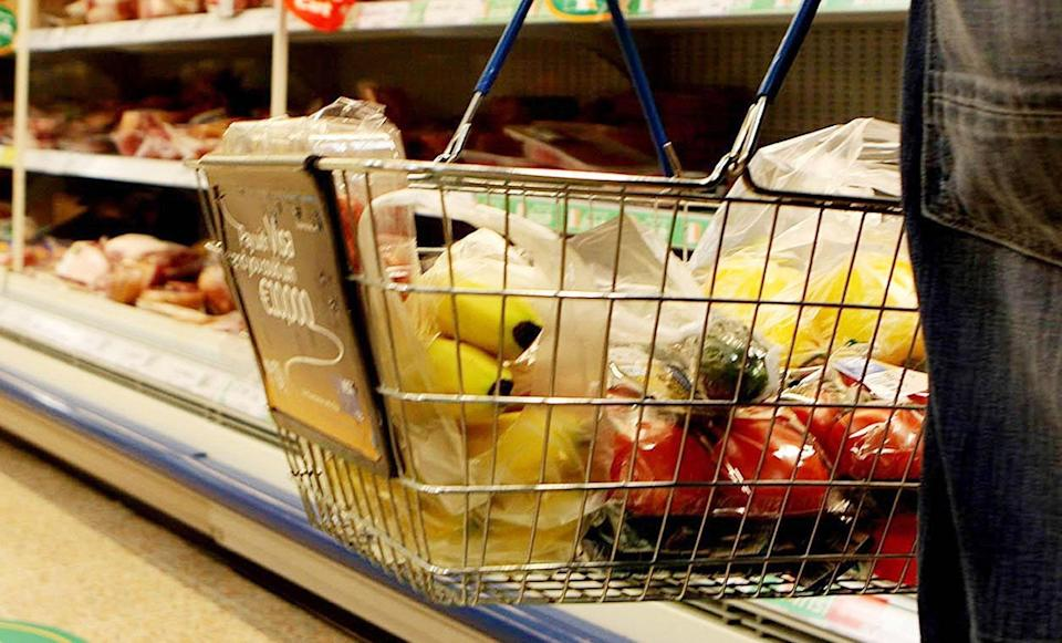 Food in a supermarket basket (PA Archive)