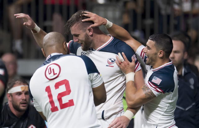 United States' Cam Dolan celebrates his try against Canada during the first half of a rugby match in Vancouver, British Columbia, Saturday, Sept. 7, 2019. (Jonathan Hayward/The Canadian Press via AP)