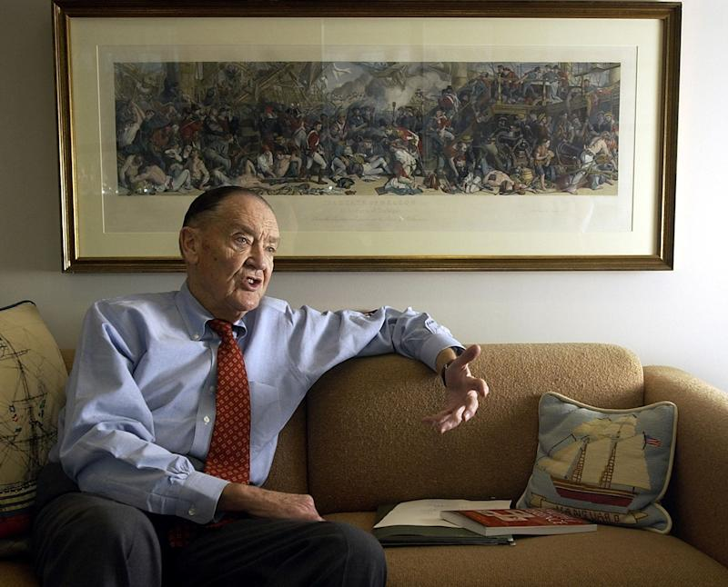 Vanguard group founder John Bogle makes a point during an interview at his office on the Vanguard campus, near Valley Forge, Pennsylvania, January 16, 2003. Bogle, an industry guru, has publicly criticized the investment fund industry.