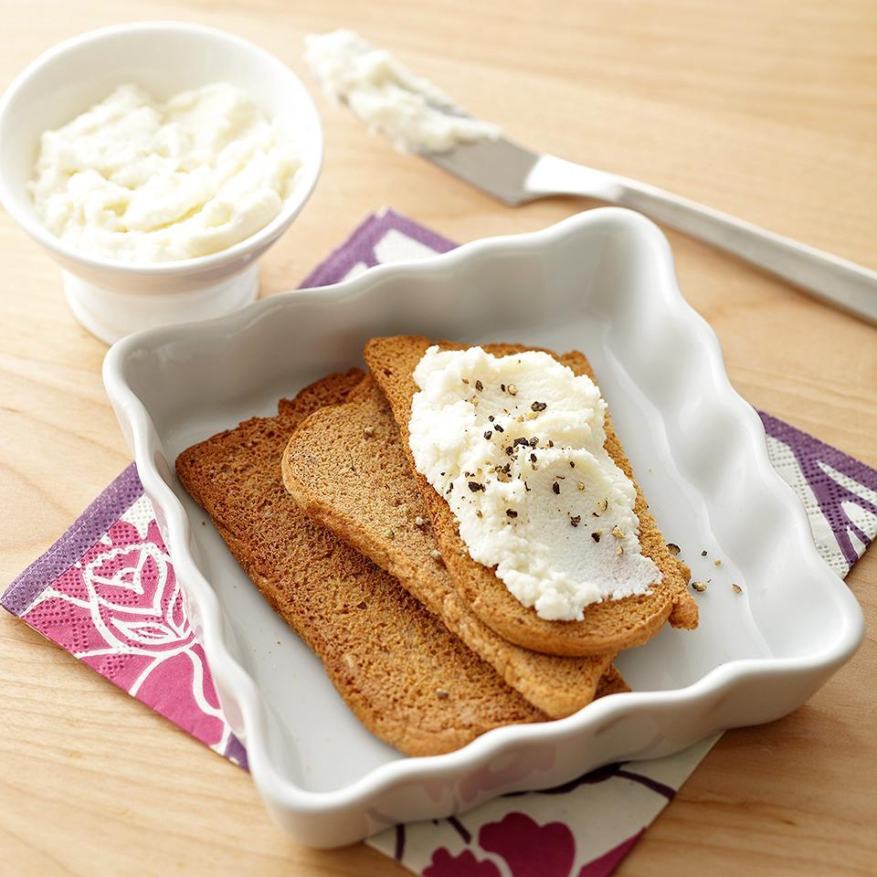 <p>This Rictta Cheese Toast uses whole grain toast crackers and reduced fat cheese for a lighter snack option.</p>