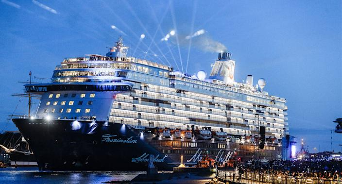 File image of TUI Cruises ship Mein Schiff 5 as couple allege they were kicked off over having loud sex.