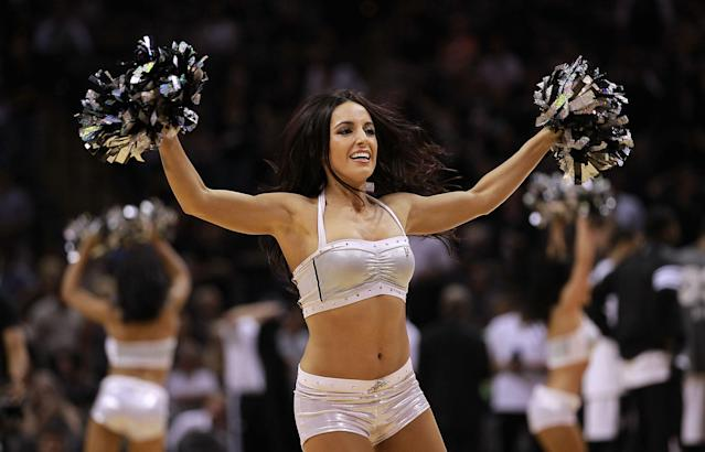 SAN ANTONIO, TX - MAY 02: A San Antonio Spurs Silver Dancer performs in Game Two of the Western Conference Quarterfinals of the 2012 NBA Playoffs at AT&T Center on May 2, 2012 in San Antonio, Texas. NOTE TO USER: User expressly acknowledges and agrees that, by downloading and or using this photograph, User is consenting to the terms and conditions of the Getty Images License Agreement. (Photo by Ronald Martinez/Getty Images)