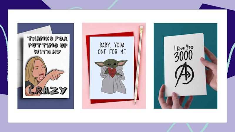 If you and your partner don't take Valentine's Day too seriously, these cards are for you.  (Photo: Etsy x HuffPost Finds)