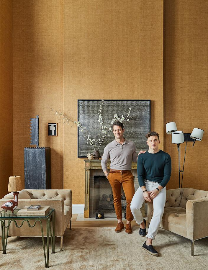 """<div class=""""caption""""> The duo <a href=""""https://www.architecturaldigest.com/story/nate-berkus-and-jeremiah-brent-transform-an-nyc-town-house-into-a-family-home?mbid=synd_yahoo_rss"""" rel=""""nofollow noopener"""" target=""""_blank"""" data-ylk=""""slk:at home"""" class=""""link rapid-noclick-resp"""">at home</a> in New York. </div> <cite class=""""credit"""">Nicole Franzen </cite>"""