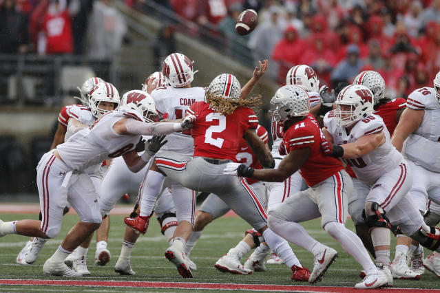 Ohio State DE Chase Young had four sacks in an October win over Wisconsin. (AP Photo/Jay LaPrete)