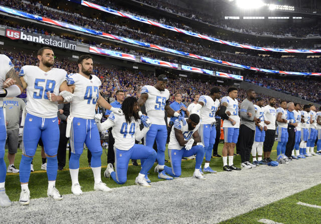 <p>Jalen Reeves-Maybin #44 of the Detroit Lions and teammate Steve Longa #54 take a knee during the national anthem before the game against the Minnesota Vikings on October 1, 2017 at U.S. Bank Stadium in Minneapolis, Minnesota. (Photo by Hannah Foslien/Getty Images) </p>