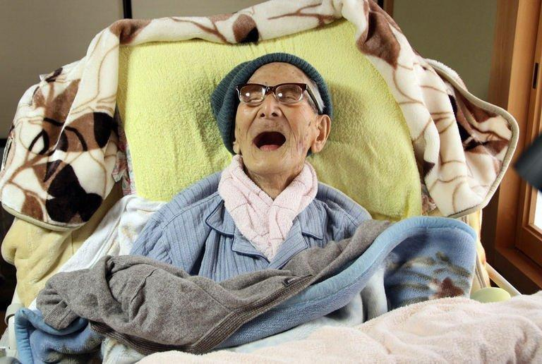 Photo released on April 19, 2013 shows the world's oldest man, Jiroemon Kimura, smiling as he celebrates his 116th birthday at his residence in Kyotango city in Kyoto Prefecture, western Japan. Kimura celebrated his 116th birthday Friday with a message from Japan's prime minister as health chiefs launched a study into why his home city boasts so many centenarians