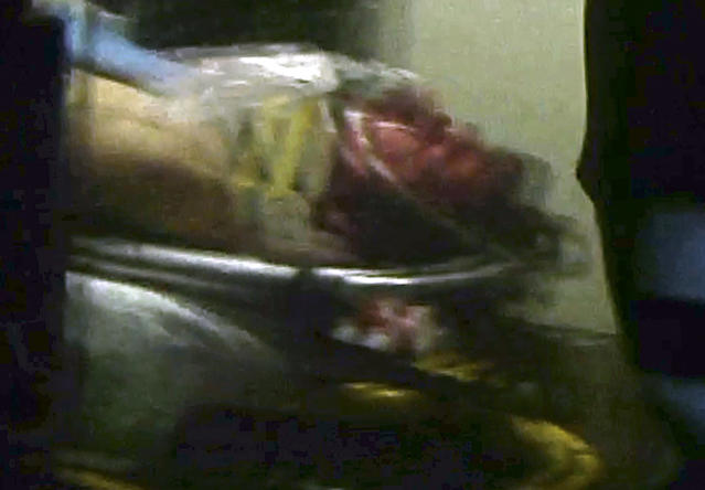 ALTERNATE CROP - This still frame from video shows Boston Marathon bombing suspect Dzhokhar Tsarnaev visible through an ambulance after he was captured in Watertown, Mass., Friday, April 19, 2013.A 19-year-old college student wanted in the Boston Marathon bombings was taken into custody Friday evening after a manhunt that left the city virtually paralyzed and his older brother and accomplice dead. (AP Photo/Robert Ray)