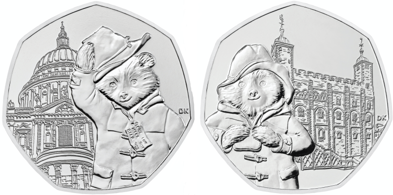 The new Paddington 50 pence pieces. Photo: The Royal Mint/PA