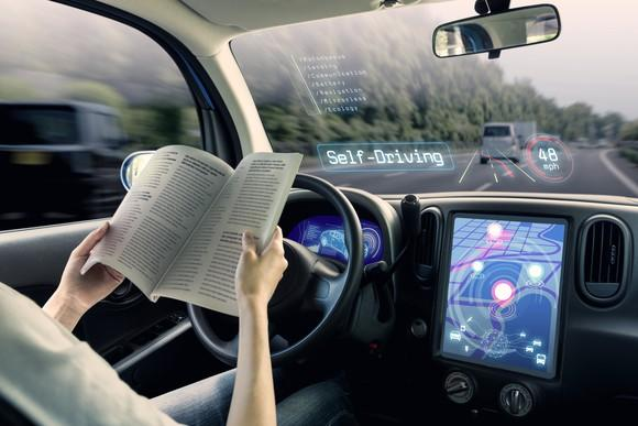 animation showing driver reading a book in driver's seat as car drives itself. The words