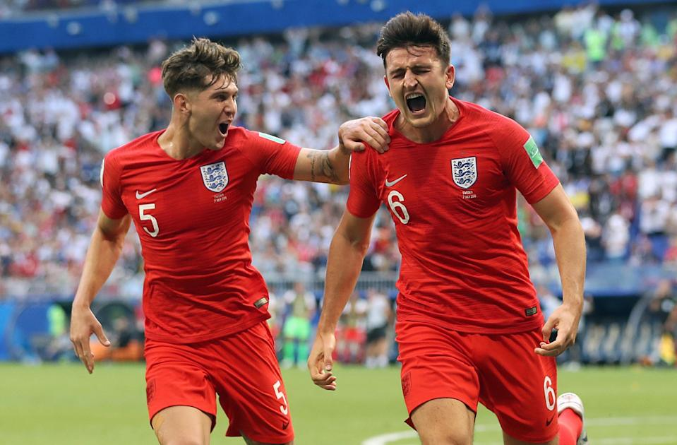 It's coming home: England's Harry Maguire celebrates scoring against Sweden (PA)