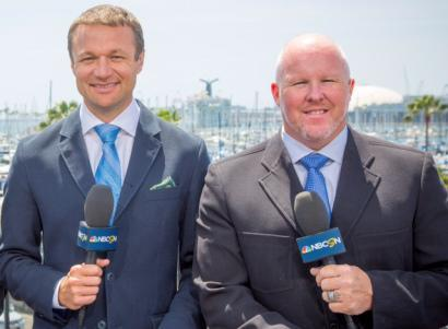 IndyCarOnNBC analysts Townsend Bell, left, and Paul Tracy.