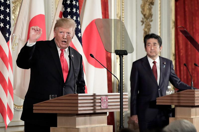 President Donald Trump speaks as Shinzo Abe, Japan's prime minister, listens during a news conference at Akasaka Palace on May 27, 2019 in Tokyo, Japan.