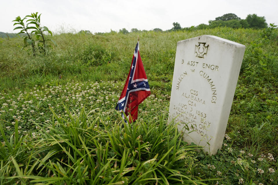 A headstone marks the grave of Simeon Cummings on the grounds of the National Confederate Museum on June 6, 2021, in Columbia, Tenn. Cummings is the currently the only Confederate soldier buried at the museum. With the approval of relatives, the remains of Confederate Gen. Nathan Bedford Forrest will be moved from Memphis, Tenn., to the museum. (AP Photo/Mark Humphrey)