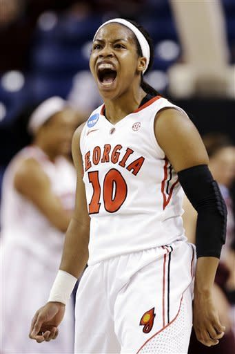 Georgia's Jasmine James lets out a yell after a teammate scored against Montana in the second half during a first-round game in the women's NCAA college basketball tournament in Spokane, Wash., Saturday, March 23, 2013. Georgia won 70-50. (AP Photo/Elaine Thompson)