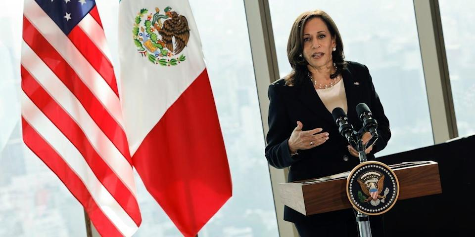 U.S. Vice President Kamala Harris delivers remarks during a press conference at the Sofitel Mexico City Reforma hotel in Mexico City, Mexico June 8, 2021. REUTERS/Carlos Barria