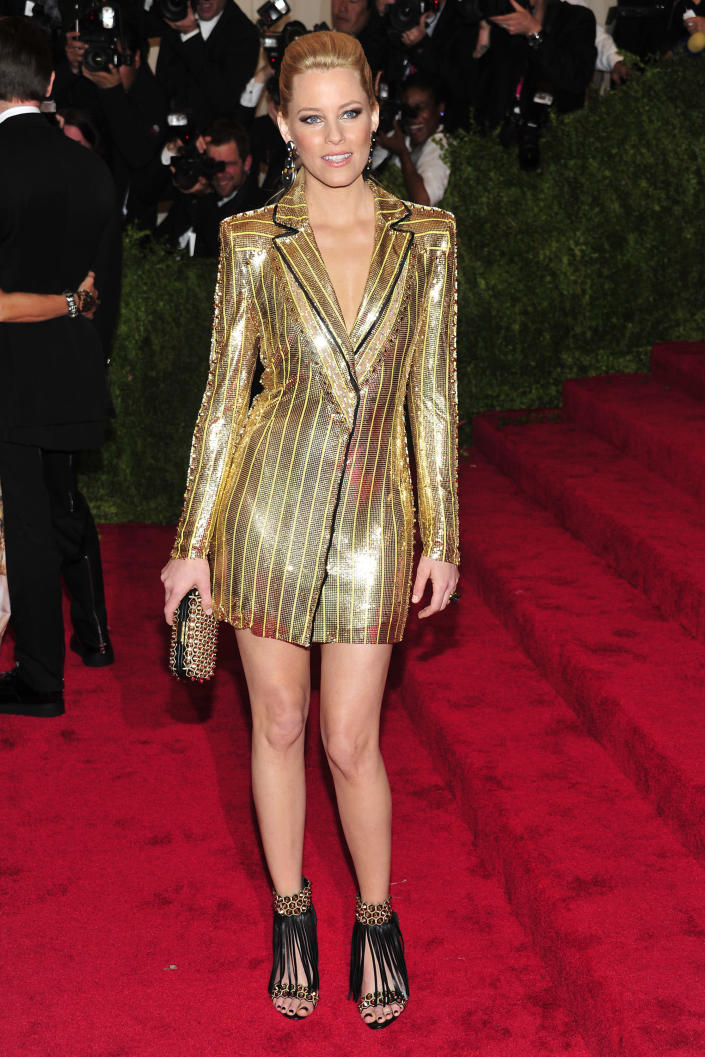 """Elizabeth Banks attends The Metropolitan Museum of Art's Costume Institute benefit celebrating """"PUNK: Chaos to Couture"""" on Monday May 6, 2013 in New York. (Photo by Charles Sykes/Invision/AP)"""