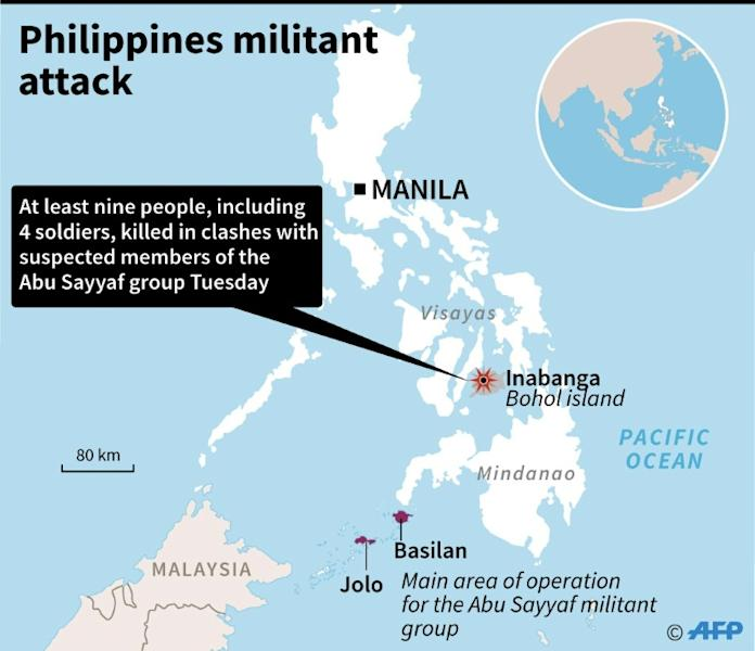 Philippine soldiers have clashed with suspected militants of Abu Sayyaf, which has long engaged in kidnapping for ransom, on the tourist island of Bohol