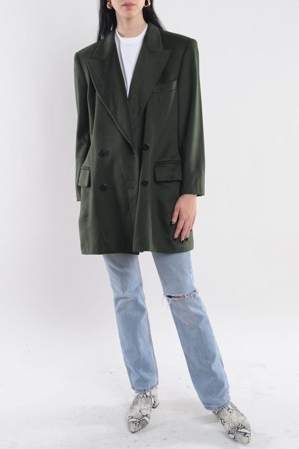 "<p><strong>The Vintage Twin </strong></p><p>thevintagetwin.com</p><p><strong>$248.00</strong></p><p><a href=""https://www.thevintagetwin.com/collections/denim-jackets-blazers/products/escada-green-cashmere-blazer"" rel=""nofollow noopener"" target=""_blank"" data-ylk=""slk:Shop Now"" class=""link rapid-noclick-resp"">Shop Now</a></p><p><a href=""http://www.thevintagetwin.com/"" rel=""nofollow noopener"" target=""_blank"" data-ylk=""slk:The Vintage Twin"" class=""link rapid-noclick-resp"">The Vintage Twin</a> was started by two twins sisters (get it?) and there are a few locations in NYC. If you don't live in the city, however, you can scroll through tons of awesome finds on their website. Plus, 10% of the proceeds go to charity.</p>"