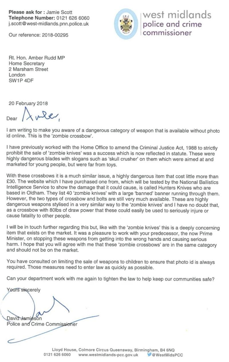 David Jamieson's letter to the Home Office, sent on Tuesday