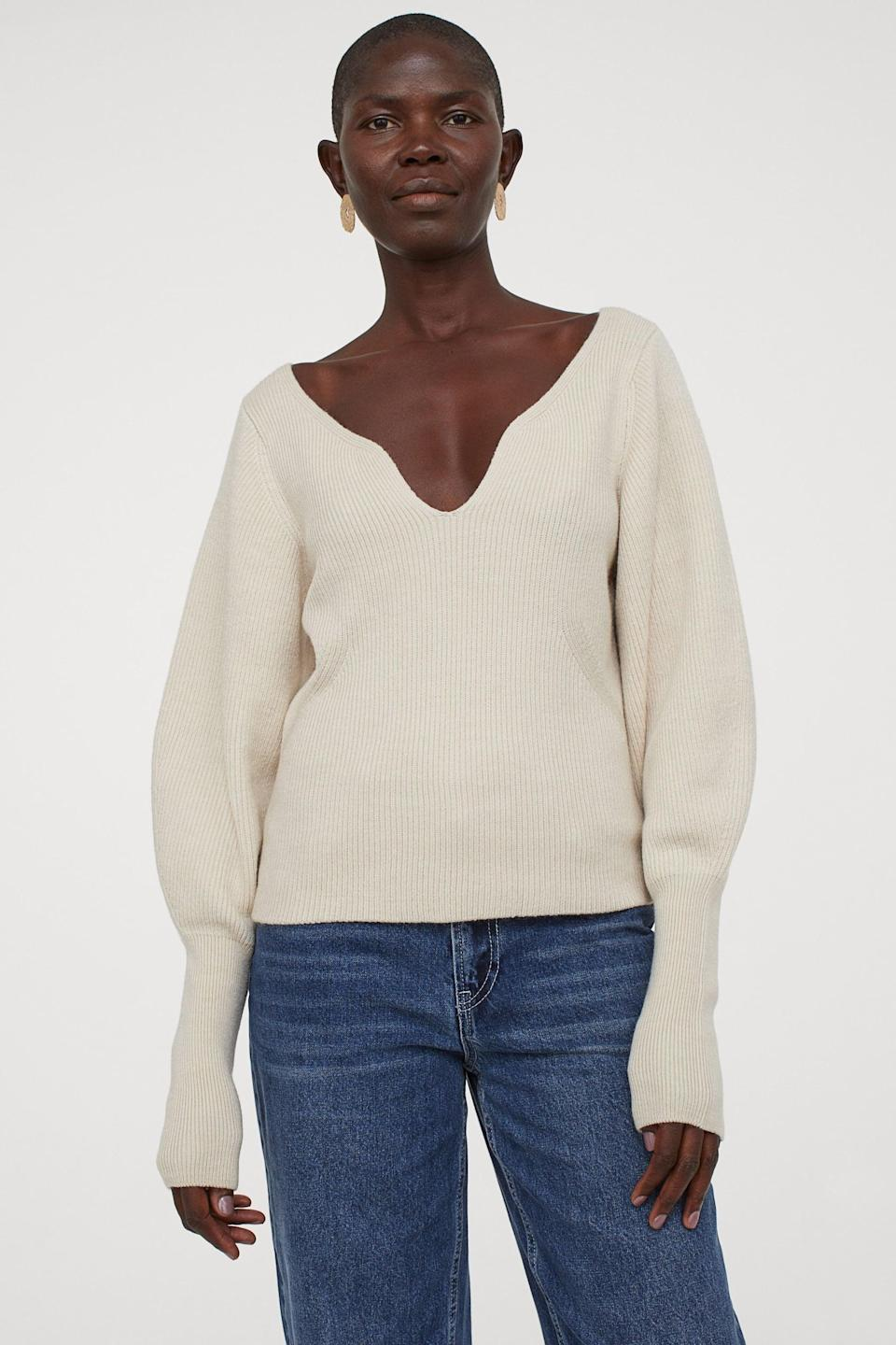 <p>Going on a date? This <span>Rib-Knit Sweater</span> ($50) will sure make an impression.</p>