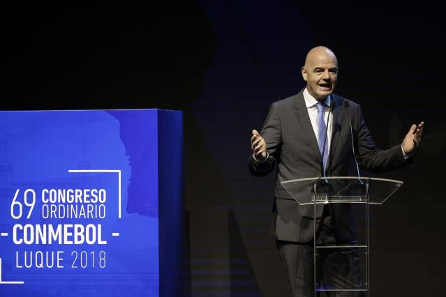 ADDS LOCATION - FIFA President Gianni Infantino talks during Conmebol, South America Soccer Confederation, 69th Congress, in Luque, Paraguay, Friday, May 11, 2018. The Congress has gathered to select new leaders. (AP Photo/Jorge Saenz)