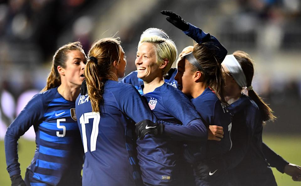 CHESTER, PA - FEBRUARY 27: US Midfielder Megan Rapinoe (15) celebrates after her goal with teammates in the first half during the She Believes Cup game between Japan and the United States on February 27, 2019 at Talen Energy Stadium in Chester, PA. (Photo by Kyle Ross/Icon Sportswire via Getty Images)
