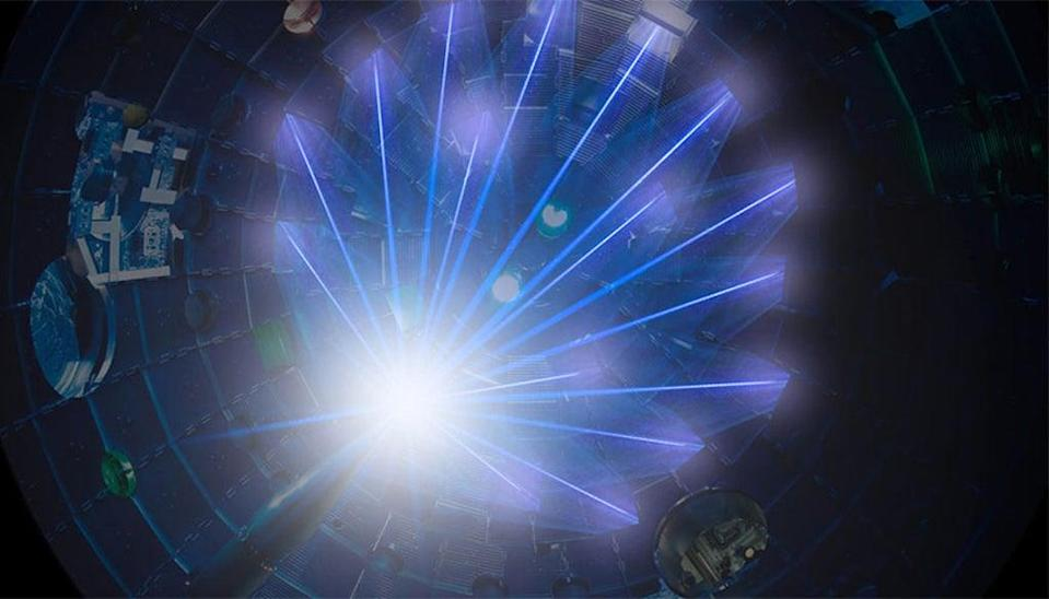 NIF's high-energy laser beams converge on a target at the centre of the target chamber (LLNL)