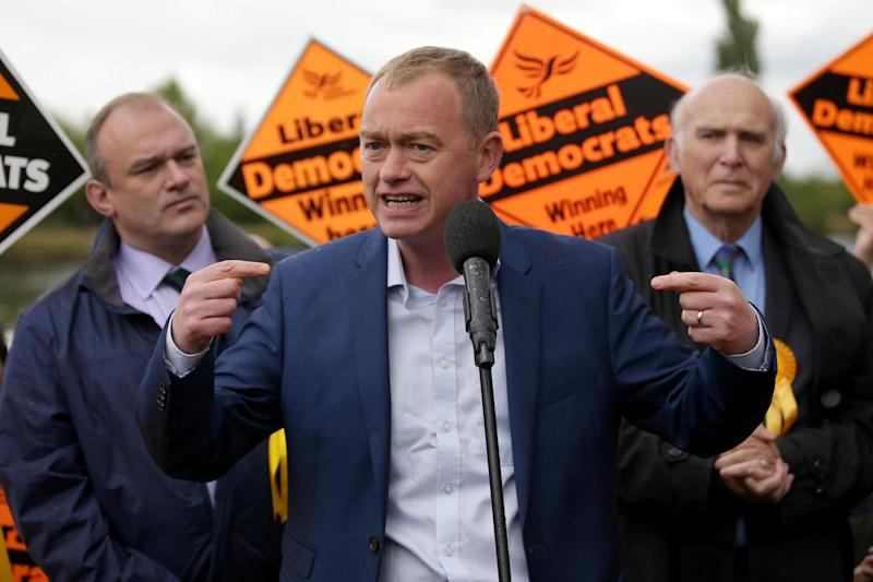 Liberal Democrats leader Tim Farron addresses supporters at the start of the election campaign: AFP/Getty Images