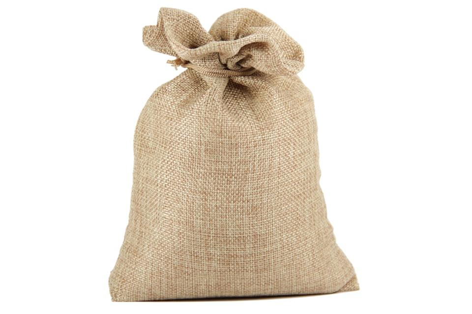Burlap sack tied at the top