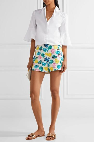 "<p>Draper James Printed Shorts, $200, <a href=""https://www.polyvore.com/draper_james_printed_cotton-blend_shorts/thing?id=211384080"" rel=""nofollow noopener"" target=""_blank"" data-ylk=""slk:net-a-porter.com"" class=""link rapid-noclick-resp"">net-a-porter.com</a><br><br></p>"