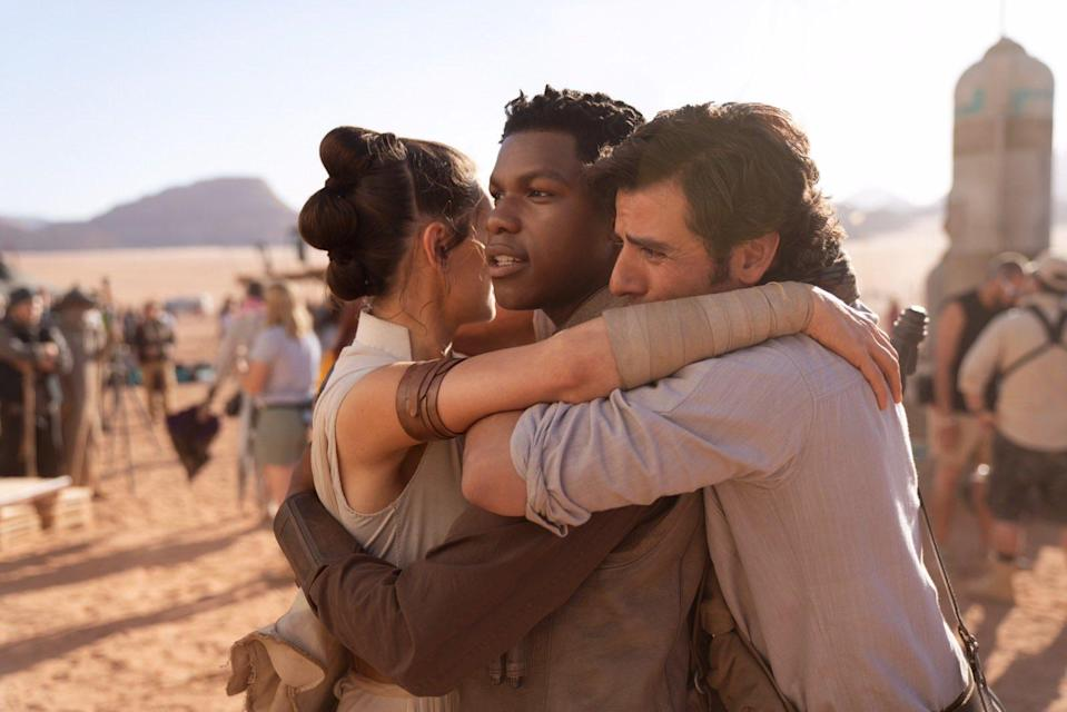 J.J. Abrams said goodbye to his <em>Episode IX</em> cast with this pic of the cast hugging it out. (Photo: J.J. Abrams via Twitter)