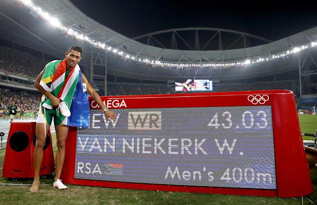 "<p>A generation can make all of the difference. Odessa Swarts of South Africa wasn't allowed to qualify for her national team because of apartheid. Years later, her son Wayde van Niekerk qualified, won gold in the 400-meter sprint in Rio and broke a 15-year-old world record. Color does not define this family. He said following the win, ""When I got over the finish line, I felt like a proud South African, not a proud colored South African"". (Photo by Cameron Spencer/Getty Images) </p>"
