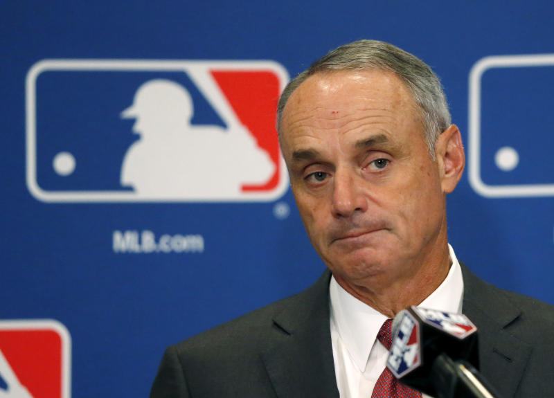 MLB commissioner Rob Manfred is aiming to make games shorter. (AP)