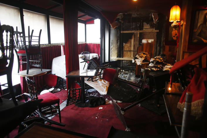 Inside view of the burned out remains of the restaurant La Rotonde, in Paris, Saturday, jan.18, 2020. The Paris prosecutor's office says it has opened an investigation to determine the causes of the Rotonde fire. (AP Photo/Thibault Camus)