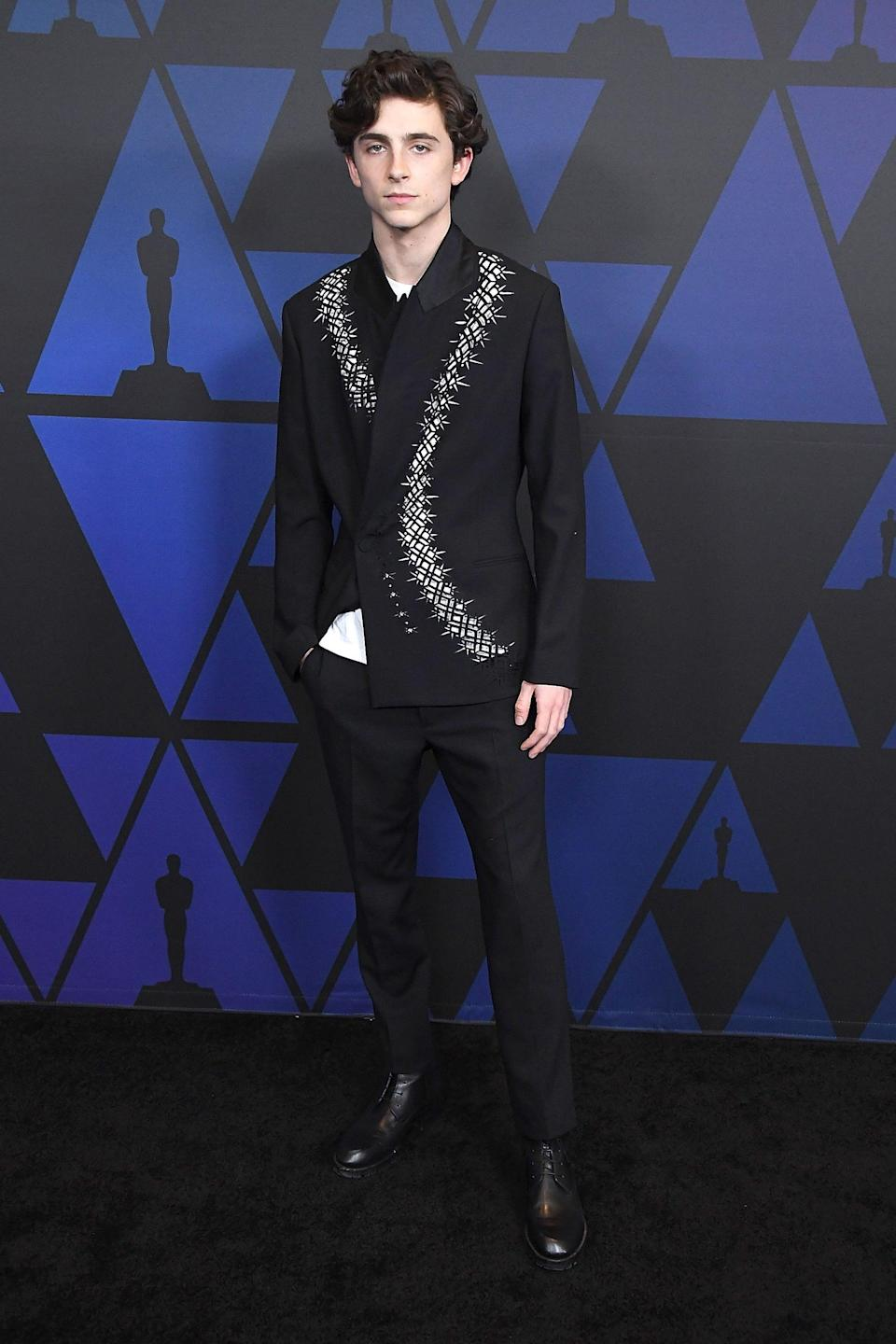 "<h2>Haider Ackermann</h2>Is anyone else getting <em>Game of Thrones</em> vibes from this Haider Ackermann look? Way to combine our two favorite things: <em>GoT</em> and Timothée Chalamet.<span class=""copyright"">Photo: Steve Granitz/WireImage.</span>"