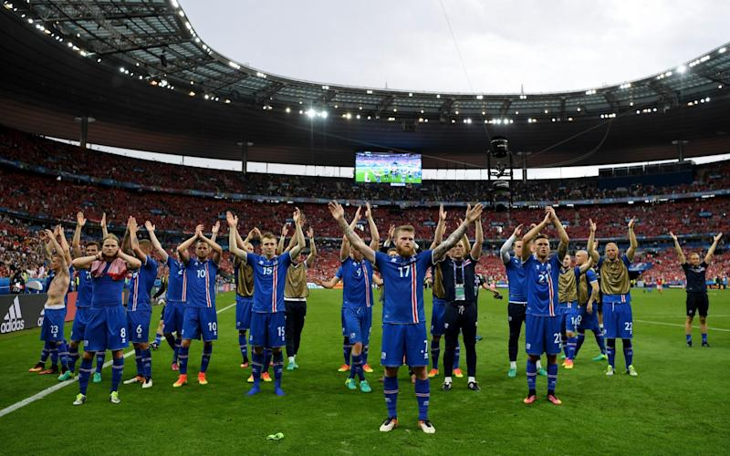 The Iceland players showed their appreciation of the fans' support after each stirring performance - Credit: Shaun Botterill/Getty