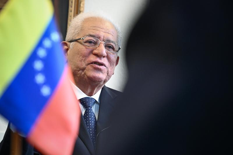 Venezuela's permanent representative to the United Nations in Geneva, Ambassador Jorge Valero speaks during a interview with AFP, at the permanent mission in Geneva on April 16, 2019