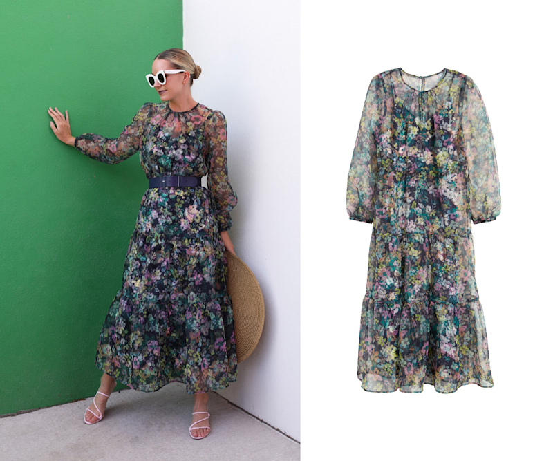 Long Sleeve Floral Sheer Tiered Maxi Dress. Images via Nordstrom.